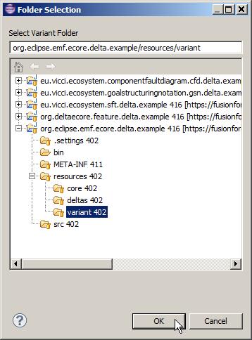 Selecting variant folder