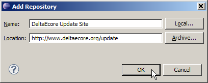 Entering DeltaEcore update site data.